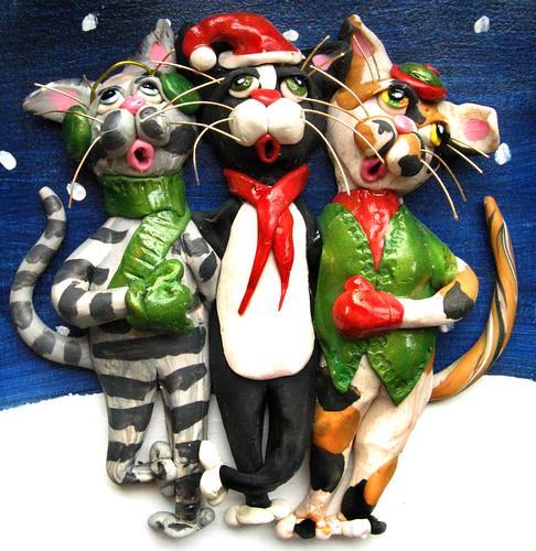 Caroling Cat Trio