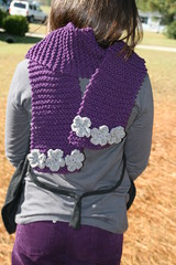 Knit Scarf with Crochet Flowers