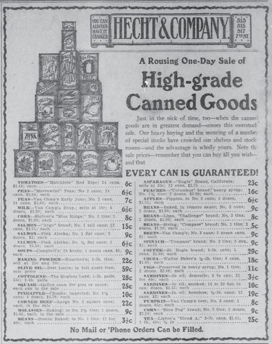 Hecht & Company Canned Goods, 1910