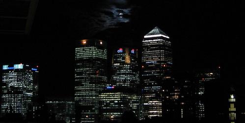 Moonlight over Canary Wharf