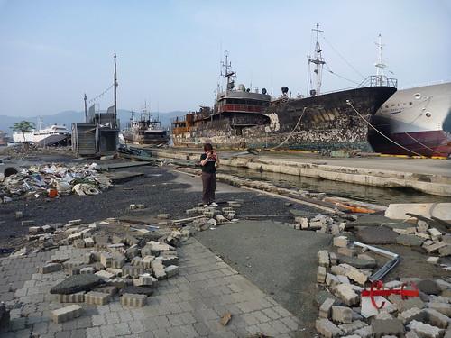 気仙沼港周辺, 震災復興ボランティア Around Kessennuma Port, Miyagi pref. Damaged area by the Tsunami of Japan quake