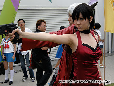 Gun wielding female cosplay character