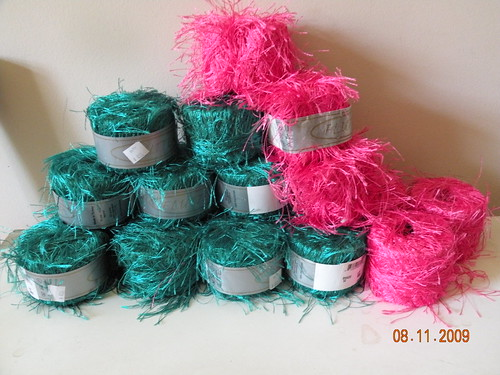 A bag of eyelash yarn - a gift from the friend who I made chemo caps for last year (shes cancer free now!)