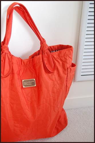 red orange MJ bag