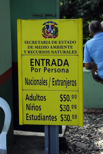 Entrance fee to caves -  Parque Nacional Los Tres Ojos, Dominican Republic