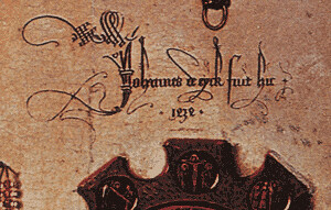 Jan van Eyck -- the Arnolfini Wedding (detail: signature)