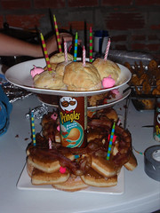 Bacon Birthday Cake: Bacon, donuts, pringles, etc.,,