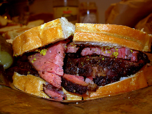 Pastrami sandwich on Silverstein rye, Kozliks double crunch mustard