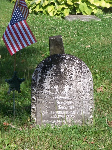 George Franklin tombstone with American flag and GAR marker