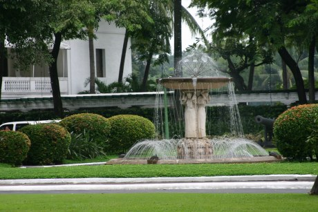 The fountain across the building housing the Rizal Hall.