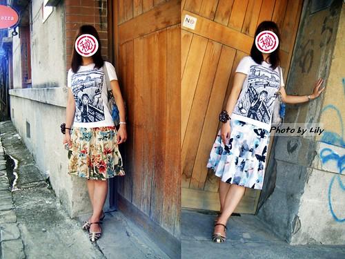左邊是秋色梧桐,右邊是水墨印象畫,都是中身裙。