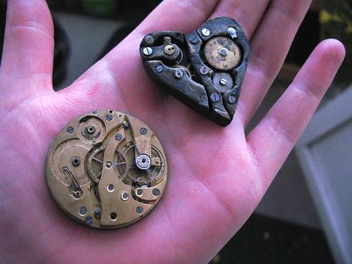 steampunk heart - beside a pocket watch movement