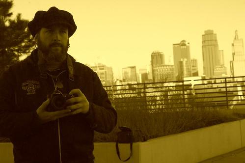 self portrait off mirrored building