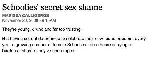 screenshot of newspaper article: Schoolies secret sex shame