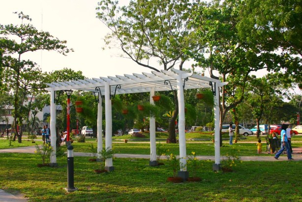A white-washed trellis dominates this area near the Dadiangas Parish Church.