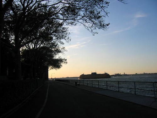 Ferry passing Governors Island.