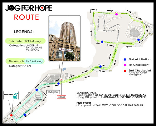 Jog for Hope '09 - Route