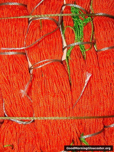 Orange twine pre-made bait bags