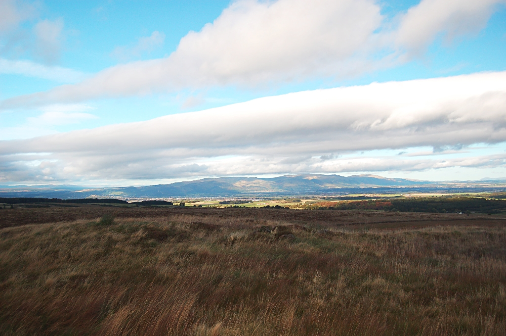 The Ochils and a tiny Stirling Castle (left)