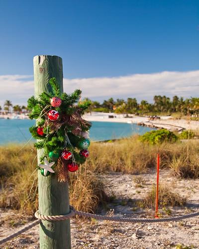 Castaway Cay - Christmas wreath on the sand