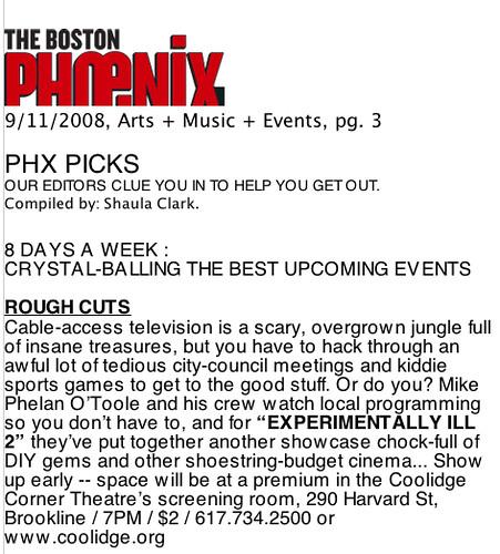 "Experimentally ILL 2 Press : BOSTON PHOENIX (9/11/08) - ""Rough Cuts"""
