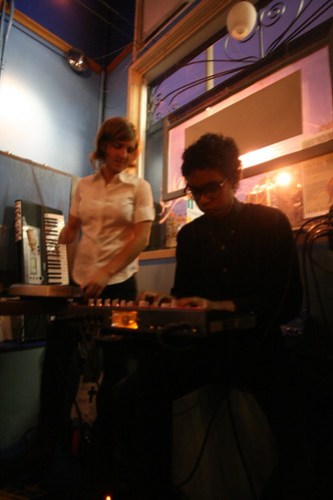 USF students Sky Madden and Chris Moore bring their synths to the Blue Jay Cafe on Divisadero.  Photo by Melissa Stihl/Foghorn