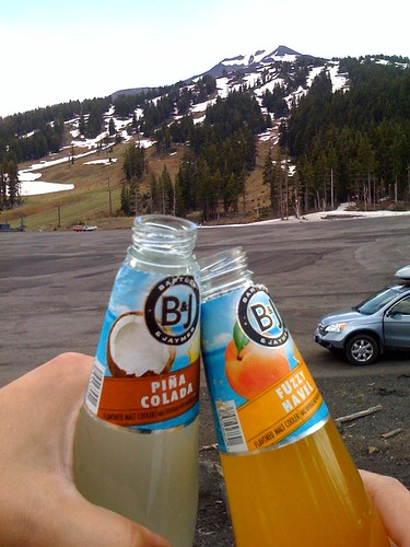 *clink* Tailgaiting in the parking lot of Mt Bachelor (because they cancelled chair lift service due to weather). by you.