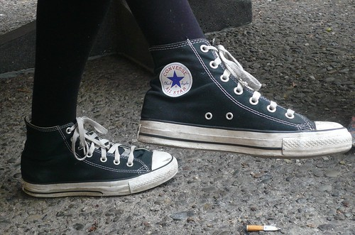 Beat up Chucks look cool while keeping Hamilburg comfortable walking around the city.  Photo by Sky Madden/Foghorn