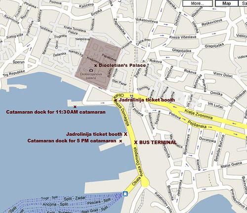 Map of catamarans from Split to Hvar