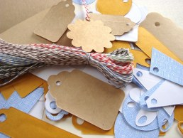 :: Twine and Tags SET - 60 pcs pre-cut 12 inch Bakers Twine (5 colors) AND 60 pcs assorted Up-cycled Die-cut Tags ::