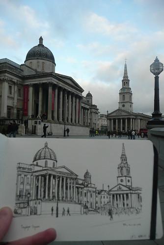 sketching trafalgar square