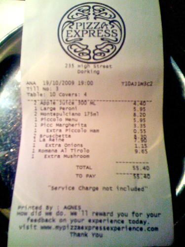Pizza Express receipt