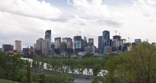 Panorama of downtown Calgary from Crescent Road
