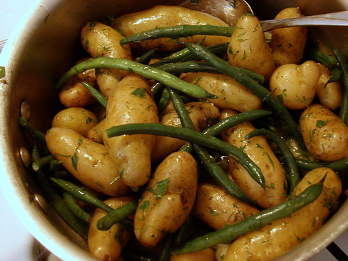 green beans and fingerlings with lemon-dill dressing