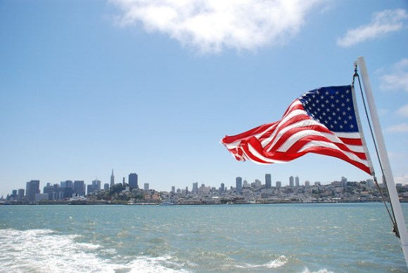 San Francisco view with flag