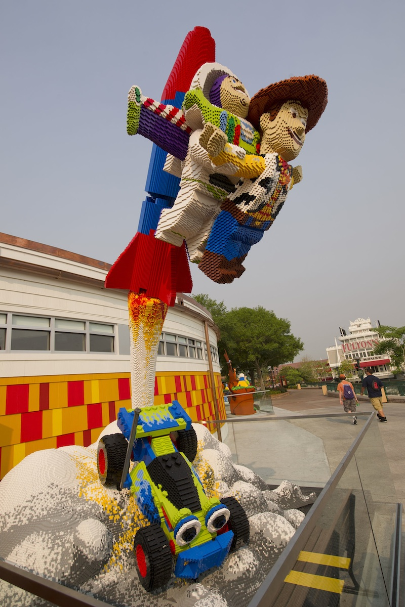 Buzz Lightyear and Woody Use the RC Racer to Catch Andy at Downtown Disney Marketplace