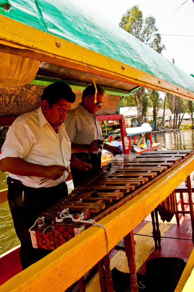 Mobile marimba band on the canals of Xochimilco