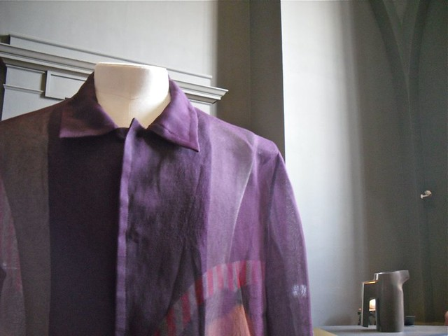 purple screen printed shirt
