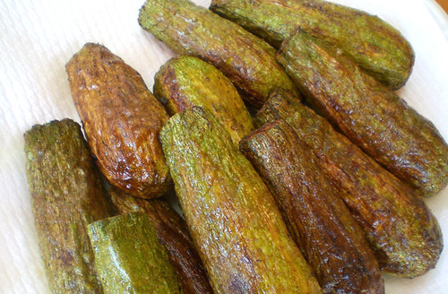 Stuffed then deep fried squash with Tahini sauce (Fettit Kusa)