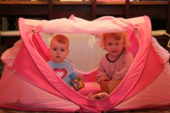 Claire and Juliet in their tent