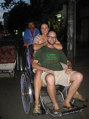 Carrie and I in a cyclo taxi (xemo) in Hue