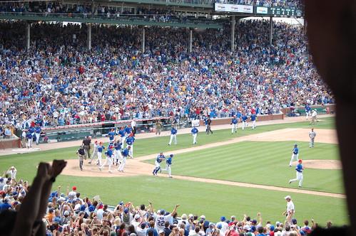 Cubs fans, on their feet as the winning run was scored.