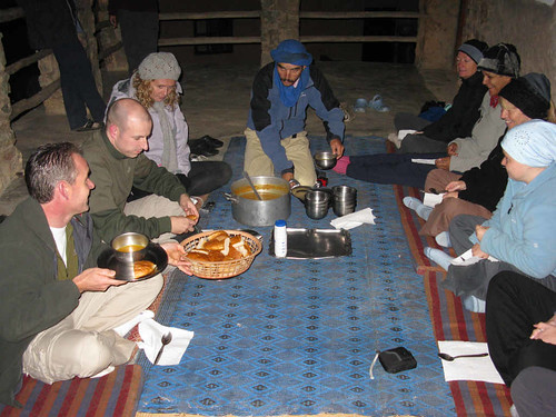 Toubkal trek - dinner on the terrace