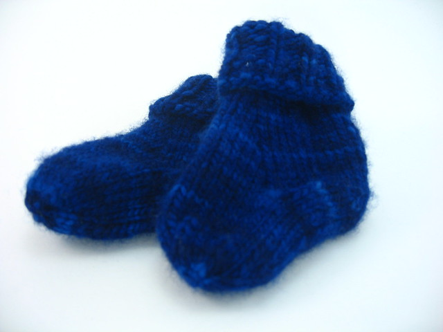 baby socks knit out of Malabrigo worsted
