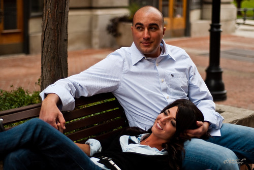 Bekah and Joe sitting on the park bench