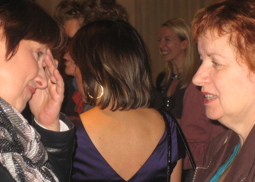 Celia Rees and Mary Hoffman, with Meg Rosoff and Fiona Dunbar in background
