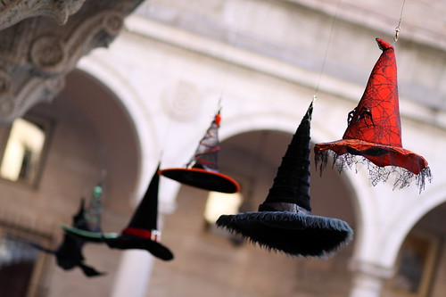 Halloween Hats in Courtyard of Boston Public Library