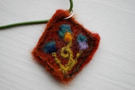 Needle felted pendant
