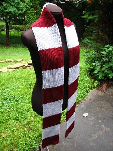 Burgundy and Light Grey Scarf