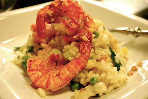 garlicky shrimp & risotto